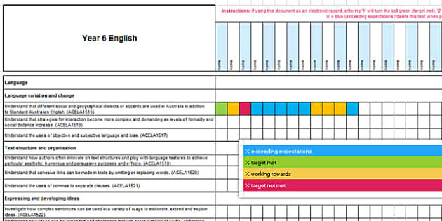 Australian Curriculum Year 6 English Assessment Tracker-Australia
