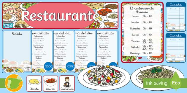 Pack de recursos: Juego de rol - El restaurante - La comida, restaurante, juego de rol, juego simbólico,