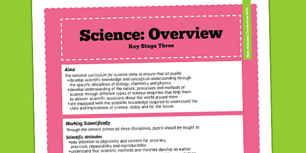 KS3 Science Curriculum Overview - new curriculum, teaching aid