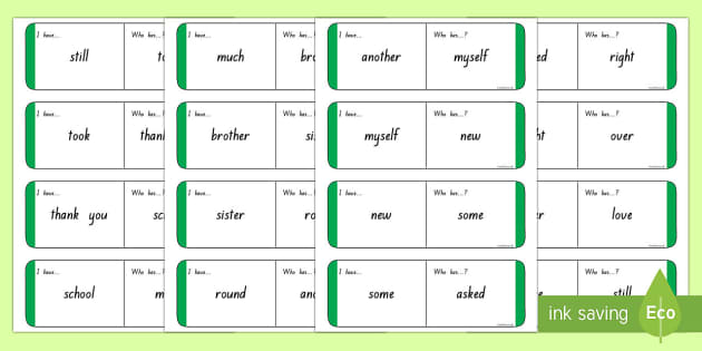 Sight Words - Green Loop Cards