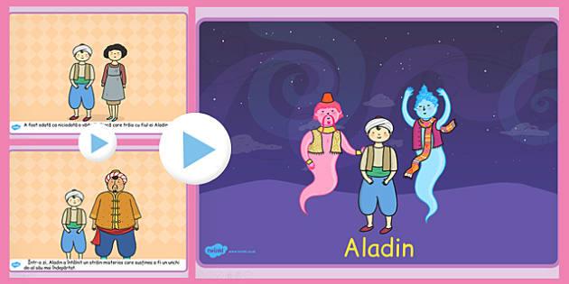 Aladin, powerpoint, lectura, rezumat cu imagini, duhul lampii, Romanian