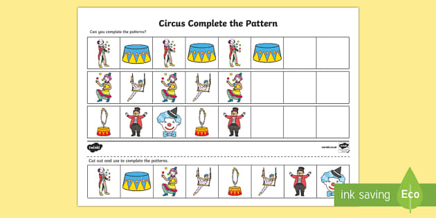 Circus Complete the Pattern Worksheet - patterns, drawing, draw