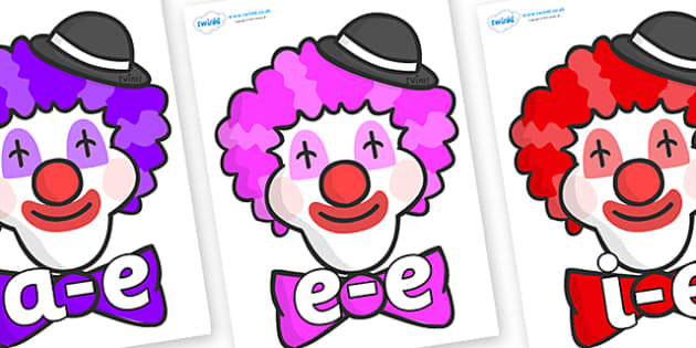 Modifying E Letters on Clown Faces - Modifying E, letters, modify, Phase 5, Phase five, alternative spellings for phonemes, DfES letters and Sounds