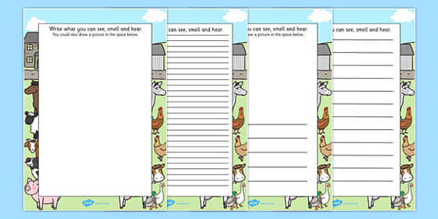 Farm Trip Senses Writing Frames - farm trip, sense, writing frames