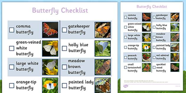 Butterfly Checklist - butterfly checklist, butterfly, checklist, hunt, activity, outdoors, spring