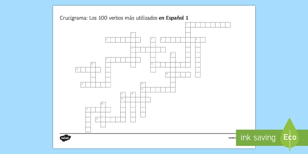 100 High Frequency Verbs 1 Crossword Spanish