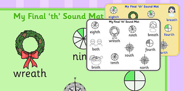 Final Voiceless 'th' Sound Word Mat 2 - th sound, SLT, SALT