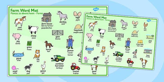 On the Farm Word Mat Polish Translation - polish, on the farm