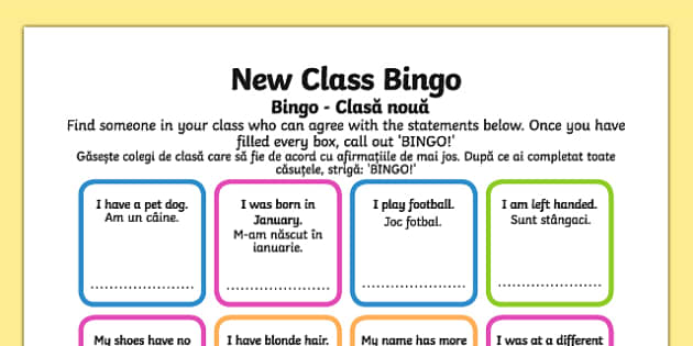 New Class Bingo Romanian Translation - romanian, transition, games, classroom games, preparation