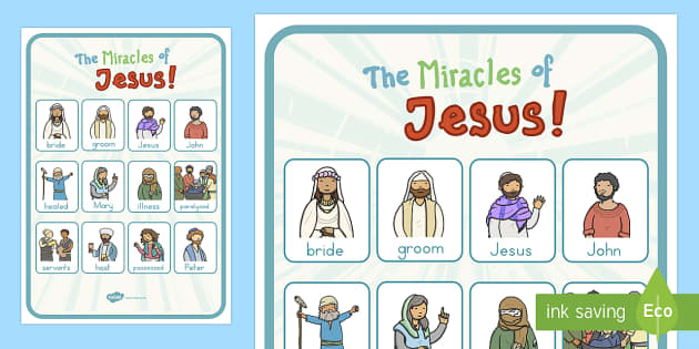 The Miracles of Jesus Bible Stories Vocabulary Poster - Christianity, bible stories, Jesus, miracles, religion