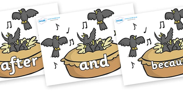 Connectives on Blackbirds in a Pie - Connectives, VCOP, connective resources, connectives display words, connective displays