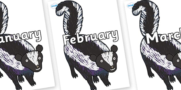 Months of the Year on Skunk to Support Teaching on The Bad Tempered Ladybird - Months of the Year, Months poster, Months display, display, poster, frieze, Months, month, January, February, March, April, May, June, July, August, September