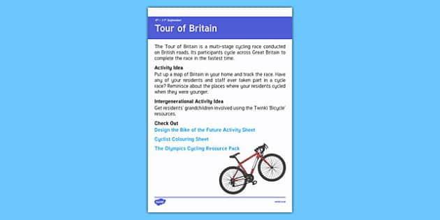 Elderly Care Calendar Planning September 2016 Tour of Britain - Elderly Care, Calendar Planning, Care Homes, Activity Co-ordinators, Support, September 2016