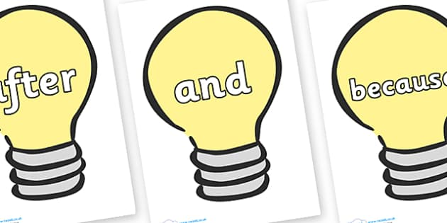 Connectives on Light Bulbs (Plain) - Connectives, VCOP, connective resources, connectives display words, connective displays
