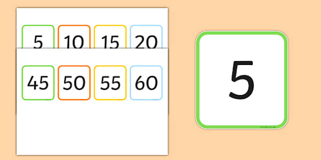 Multiples of 5 Flash Cards - multiples, counting, times table, count, multiplication, division, flash cards, 5