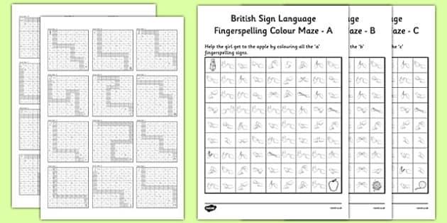 British Sign Language Left Hand Fingerspell Colour Maze Alphabet