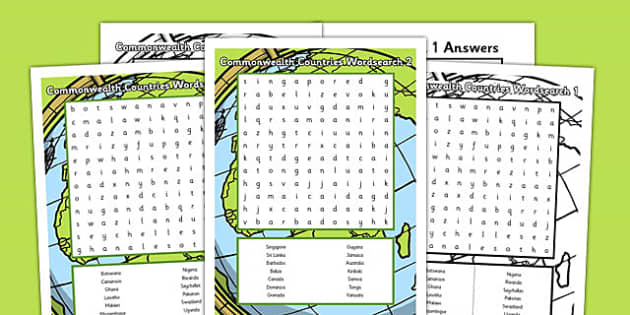 Commonwealth Countries Wordsearch - commonwealth, countries