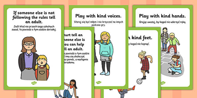 Playground Rules Posters Polish Translation - break time, playing, guide, information, KS1, KS2, visual aid, display