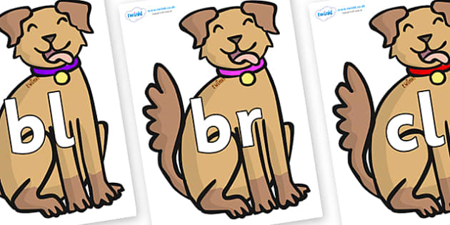 Initial Letter Blends on Dogs - Initial Letters, initial letter, letter blend, letter blends, consonant, consonants, digraph, trigraph, literacy, alphabet, letters, foundation stage literacy