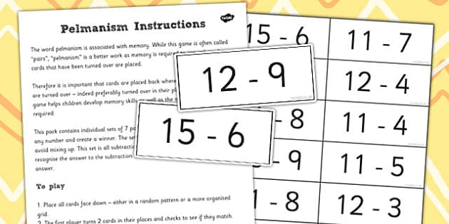 Pelmanism Subtraction Facts Game 11 to 19 - maths, memory, game