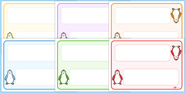 Editable Penguin Themed Name Cards - name tags, signs, labels