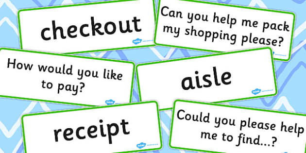Supermarket Vocabulary Cards - supermarket, vocabulary, cards