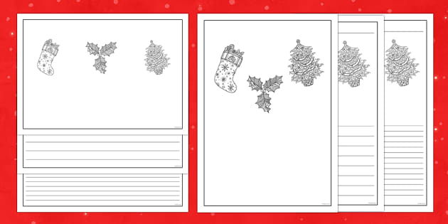 Christmas Themed Mindfulness Colouring Writing Frames - Priority Resources, mindfulness, Christmas, writing frames
