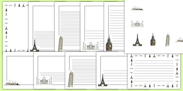 Tourism Page Borders -tourists, travel, holidays, summer, eyfs, ks1, role play, writing, literacy