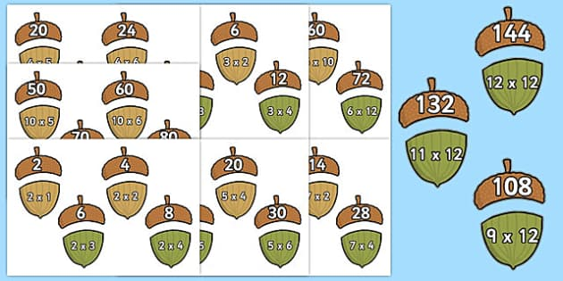 Multiplication Acorn Matching Activity Pack - multiplication, acorn, matching, activity, pack