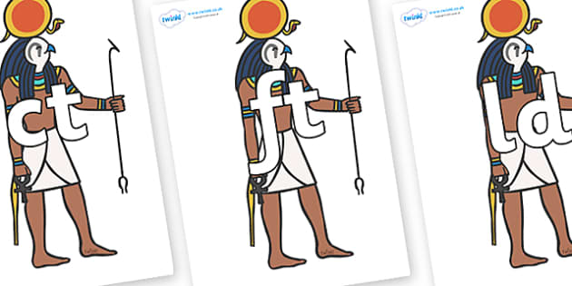 Final Letter Blends on Egyptian Figures - Final Letters, final letter, letter blend, letter blends, consonant, consonants, digraph, trigraph, literacy, alphabet, letters, foundation stage literacy