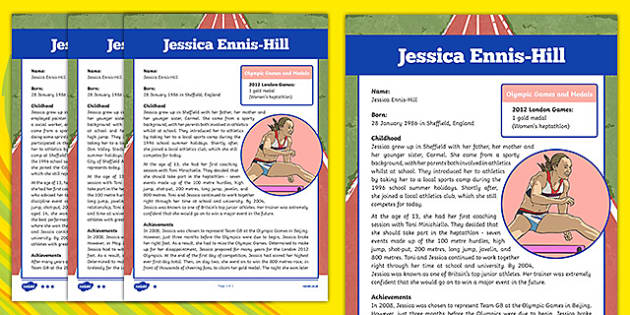 Great British Olympians Jessica Ennis-Hill Differentiated Fact File