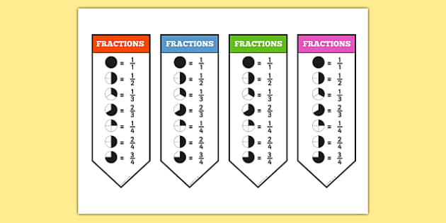 Year 2 Fraction Bookmarks - fraction, bookmarks, year 2, book