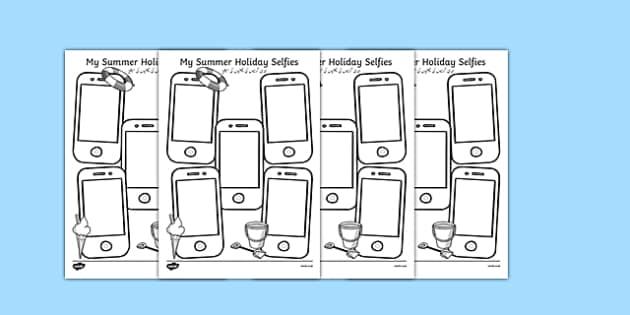 Summer Holiday Selfies Writing Template Urdu Translation - urdu, holiday, summer, term, break, holidays, selfie, selfy, photo, portrait, picture