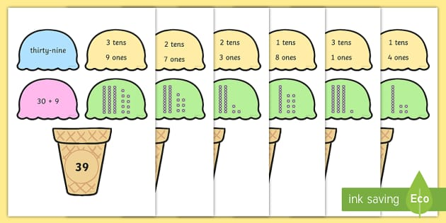 Place Value Ice Cream Cone Matching Activity Tens and Ones - ten
