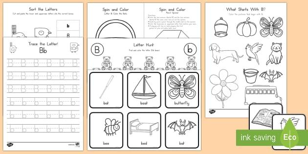Letter B Activity Pack - Alphabet Packets, Letter B, EYFS, KS1, PreK, Kindergarten, Beginning Sounds, Letter Identification,