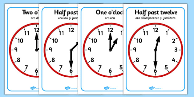 O'clock and Half Past on Clocks Romanian Translation - romanian, o clock, half past, clock, time