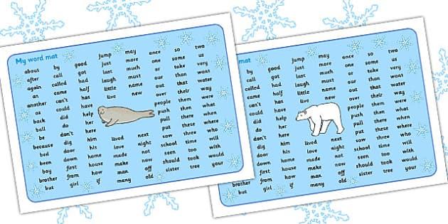 Polar Regions Themed KS1 Word Mat - polar, ks1, word mat, mat