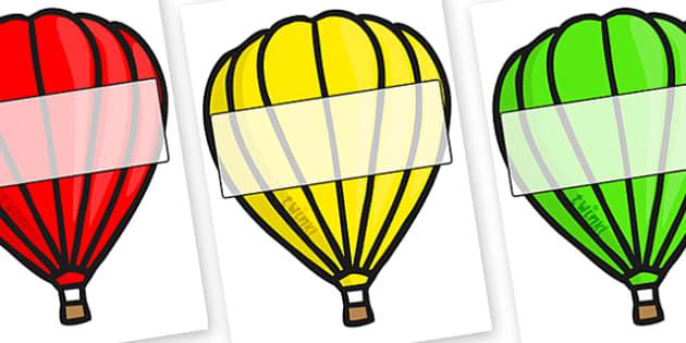 Editable A4 Hot Air Balloons (Plain) - Hot air balloon, balloon, display, poster, editable, label, template, birthday display