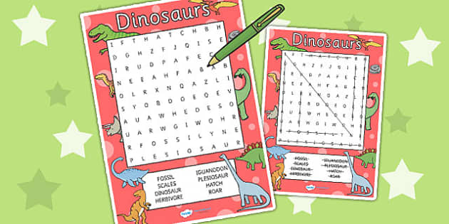 Dinosaur Wordsearch - dinosaur, word search, word games, games