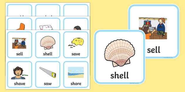 'sh' and 's' Minimal Pair Cards