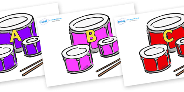 A-Z Alphabet on Drums - A-Z, A4, display, Alphabet frieze, Display letters, Letter posters, A-Z letters, Alphabet flashcards
