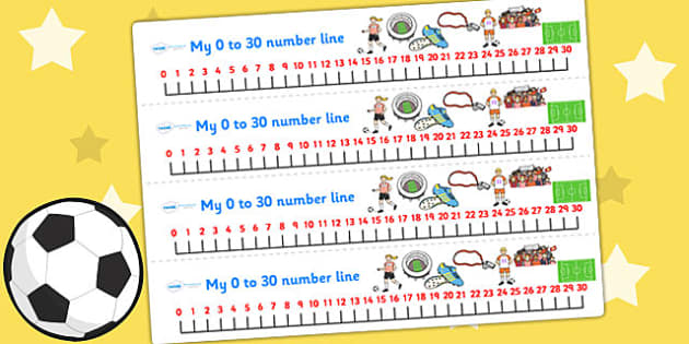Football World Cup Number Lines pdf 30 - football, sports, number