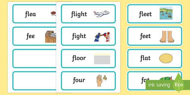 'fl' and 'f' Near Minimal Pair Word Cards - cluster reduction,cluster simplification, apraxia, dyspraxia, minimal pairs, phonology, articulation