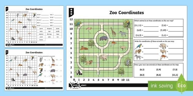 Zoo Coordinates Activity Sheets - Position, direction, coordinates, worksheets, zoo coordinates