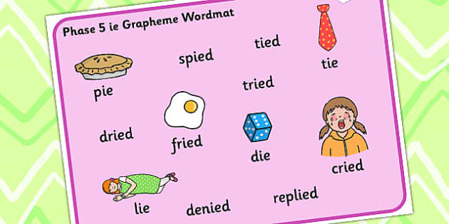 Phase 5 ie Grapheme Word Mat - phase five, graphemes, literacy