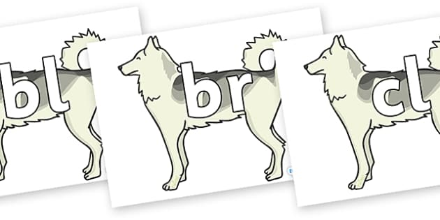 Initial Letter Blends on Huskies - Initial Letters, initial letter, letter blend, letter blends, consonant, consonants, digraph, trigraph, literacy, alphabet, letters, foundation stage literacy