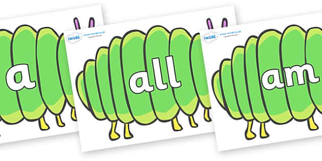 Foundation Stage 2 Keywords on Fat Caterpillars to Support Teaching on The Very Hungry Caterpillar - FS2, CLL, keywords, Communication language and literacy,  Display, Key words, high frequency words, foundation stage literacy, DfES Letters and Sound