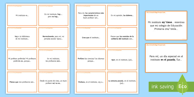 General Conversation Life at School College Question Prompt Cards - Spanish Speaking Practice, questions, prompt cards, school, college, education