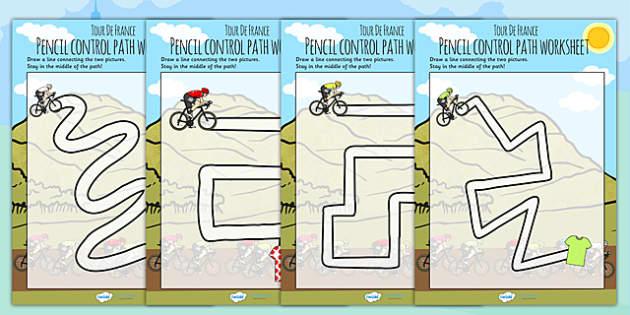 Tour de France Themed Pencil Control Path Worksheets - le tour
