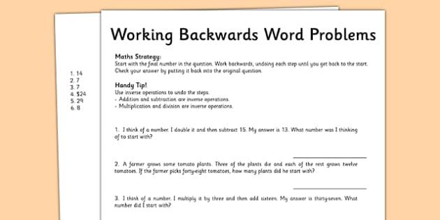 Year 5 Working Backwards Maths Word Problems - australia, worksheet, test skills, NAPLAN, inverse operations, problem solving, reasoning